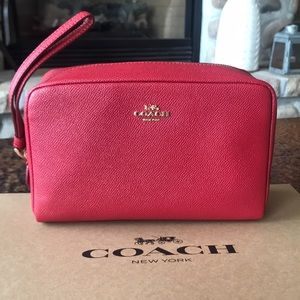 {COACH} Red Makeup Bag. Large. New with tags.